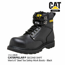 "Caterpillar Men's Black Second Shift 6"" Steel Toe Non-Slip Safety Boots #89135"