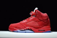 Nike Air jordan 5 Red Suede Raging Bull Mens Sports Basketball Shoes