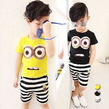2PC Baby Boy Minions Cartoon Cotton T-shirt Pants Set Kids Casual Clothes Outfit