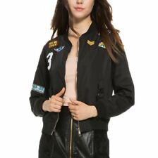 Women Bomber Flight Suit Casual Embroidered Patch Jacket Coat