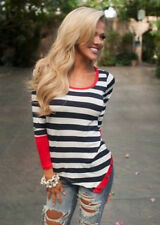 Fashion Sexy Long Sleeve T-Shirt Women Casual Neck Top Striped Crew Blouse Loose