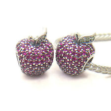 Genuine S925 Sterling Silver European Charm Apple Pave Red & Green CZs Bead