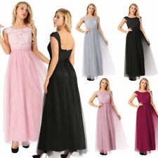 Women Cap Sleeve Lace Tulle Bridesmaid Dress Long Formal Party Evening Prom Gown