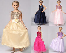 Summer Girls Noble Princess Kids Rose flower Party Dance Prom Pageant Dress