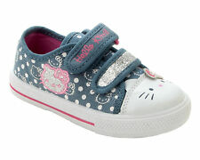 GIRLS HELLO KITTY DENIM CANVAS GLITTER PUMPS TRAINERS SHOES INFANTS UK SIZE 7-1