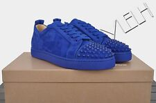 CHRISTIAN LOUBOUTIN 895$ Authentic New Blue Suede Louis Junior Spikes Sneakers