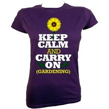 Keep Calm and Carry On Gardening Women's Purple T-shirt