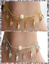 Gold Silver Plated LeafFauxPearl Double Layered Chain AnkletBeach Barefoot UK