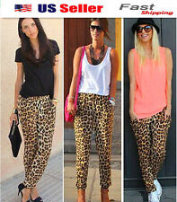 Women's Fashion Leopard Print Harem Pants Casual Ladies Full Trousers 006A