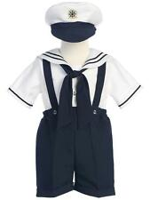 Boys White & Navy Sailor Suit with Hat by Lito Toddler NWT 4T