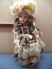 "Paradise Galleries Porcelain Fancy Dress 17""-19"" Girl or Boy Doll & Stand VGC"