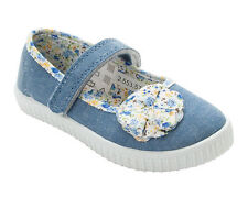 GIRLS DENIM CANVAS FLORAL DOLLY PUMPS CASUAL TRAINERS SHOES INFANTS UK SIZE 4-12