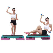 Adjustable 43″Aerobic Step Fitness Workout Cardio Exercise Stepper w/ Risers