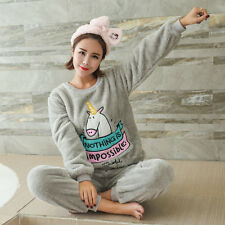 Unicorn Pajamas Winter Sleepwear Warm Flannel Animal Pajamas Set For Women Girl