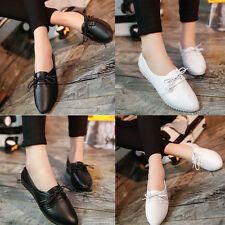 Women Lace Up Ballet Boat Shoes Casual Slip On Flats Shoes Loafers Ballet Shoes