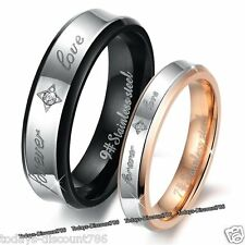 Forever Love Rings Engraved Promise Gifts For Her Him Girl Wife Couple Men Women
