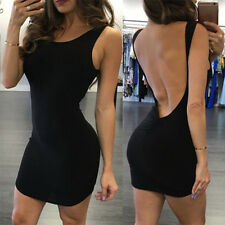Women Sexy Backless Elegant Mini Sleeveless Open Back Night Club Party Dress BE