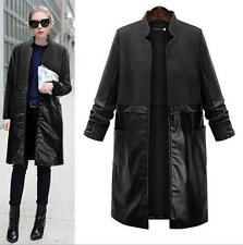 Ladie Stand Collar Wool Blend Trench Long Parka Coat Straight Oversize Jacket Sz