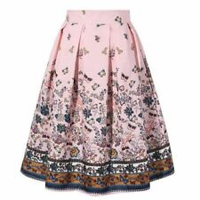 Women High Waist Vintage Floral Printed Swing Pleated Flared Skirt
