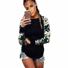 Women Army Green Patchwork Long Sleeve Casual Tops T- Shirt