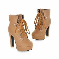 Women Fashion Ankle Boots High Heels Black Brown Motorcycle Boots Shoes