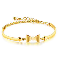 7'' New Lovely Bracelet Chain Women Bowknot 18K Yellow Gold Filled Bangle Gift