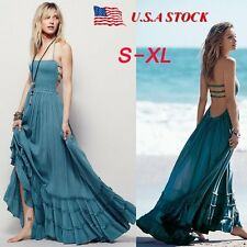 Women Summer Long Backless Bandage Boho Maxi Dress Beach Evening Party Sundress