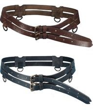 Medieval Twin Leather Ring Belt Steampunk Larp Renaissance sca