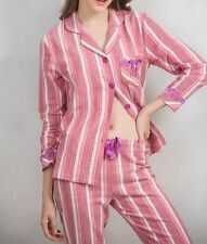 Womens Cotton Pajamas Set Long Sleeve Button Down Striped Lace Trim Sleepwear