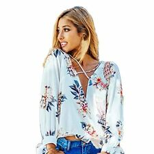 Women Floral Print Chiffon Blouses Long Sleeve Ladies Tops
