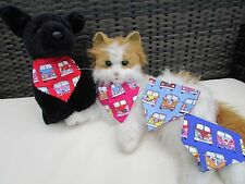 Handmade Cat or Tiny Dog Camper-van Print Collar Bandanna  Blue Red Cerise