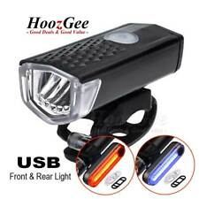 USB Rechargeable MTB Bike Bicycle Cycling LED Headlight Front Rear Tail Lamp Kit