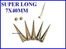 7x40mm Long Cone Spikes Screwback Studs Leathercraft Shoes Nickel Silver / Gold