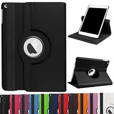 """360 Rotary Leather Folio Stand Smart Case For iPad New 9.7"""" A1822+Tempered Glass"""