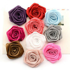 10/20/50 Pcs Satin Ribbon Rose Flowers Bows Handicrafts Applique Sewing Hairband