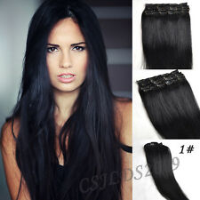 Full Head Clip In 100% Real Human Hair Extensions Any Lengths Jet Black #1