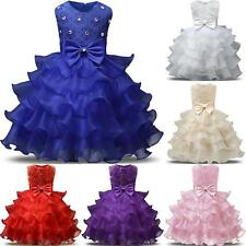 Baby Girls Princess Dress Kids Ruffles Bowknot Lace Party Wedding Dresses ZKF