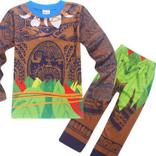 Stylish Kids Boys Moana Maui Long Sleeve Tops + Pants Sleepwear Pajamas Set 2-7Y