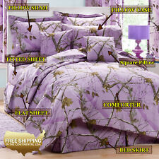 Realtree AP Lavender Bedding Comforter + Optional Sheets and Pillow (Twin Size)