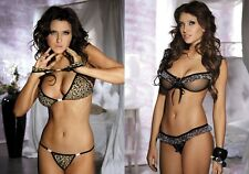 Seductive sexy BRA SET Negligee with thong - Skirt and Leopard Ruffle Look