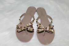 Dark Beige Jelly Bow Studded Sandals