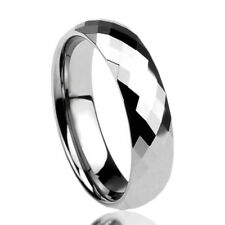 Men Women 6MM Tungsten Wedding Band Ring Multi Faceted High Polish Dome Ring
