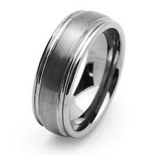 Men Women Tungsten Carbide Wedding Band Ring 8mm Domed Groove Ring