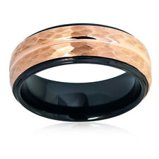 Men Women Tungsten Carbide Wedding Band Ring 8mm Hammered Black Rose Tone Ring