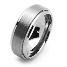 Men Women Tungsten Carbide Wedding Band Ring 8mm Beveled Brushed Ring