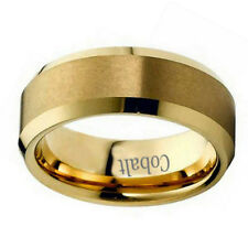 Men Women Inside Engraving Cobalt Wedding Band Ring 8mm Flat Top Gold Tone Ring