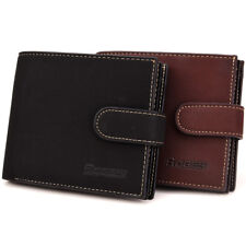 New Mens Center Flap Bifold Leather ID Wallet Credit Card Holder Coin Bag Purse