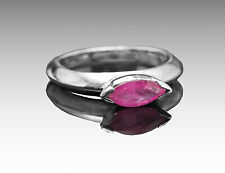 925 Sterling Silver Ring with Natural Red Ruby Gemstone Bezel Setting Handmade.