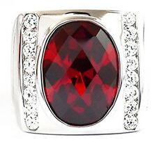 RED RUBY DIAMOND LINE RHODIUM PLATED STERLING 925 SILVER RING
