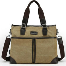 European Mens Vintage Canvas Leather Shoulder Messenger Bag Briefcase Laptop Bag